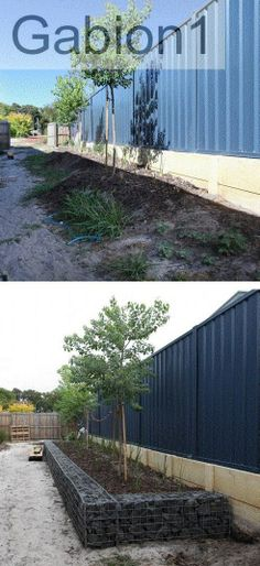 Gaion wall in Dunsborough WA before and after http://www.gabion1.com.au