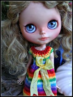 BLYTHE DOLL Dress - OOAK - Barefoot Rainbow - cotton flared dress in rainbow stripes with bright buttons by LittleLovelieShop on Etsy