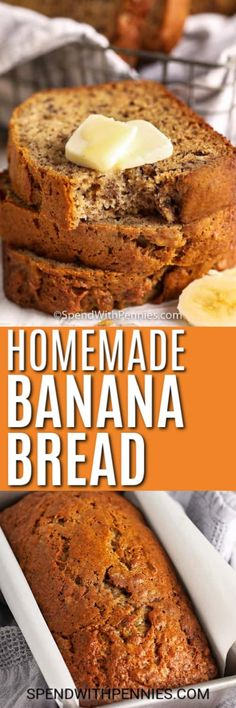 A classic banana bread recipe is a must-have for any home cook! This one is so easy to prepare and results in the perfect sweet and moist treat every time! Coconut Banana Bread, Homemade Banana Bread, Moist Banana Bread, Chocolate Banana Bread, Yummy Snacks, Delicious Desserts, Breakfast Cake, Breakfast Recipes, Banana Bread Recipes
