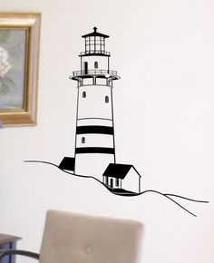 Old Beach Lighthouse Vinyl Wall Graphics Art by InfinityDecals, $35.00