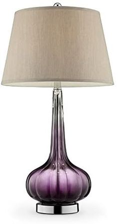 "Ore International K-5709 30"" Mulberry Glass Table Lamp - - AmazonSmile Purple Lamp, Amethyst Color, Unique Lamps, Fabric Shades, Drum Shade, Glass Table, Home Kitchens, Table Lamp, Home Improvement"