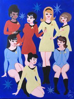 Star fleet priness(s) a la Mary Blair. Star Trek Tos, Star Wars, Spock, Vintage Star, Retro Vintage, Star Trek Convention, Pin Up, Star Trek Cosplay, Star Trek Images