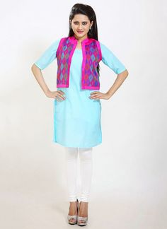 Shop now all the latest Kurti designs for women. Explore Cbazaar's huge collection of party wear and casual wear Indian Kurtis featuring a huge variety. Kurti With Jacket, Designer Kurtis Online, Indian Designer Wear, Jackets Online, Indian Wear, Party Wear, Casual Wear, Jackets For Women, Lady