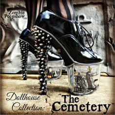"""Dollhouse Collection: """"The Cemetery"""" Miniature Goth Spike Graveyard Heels USD) by kaylastojek Funky Shoes, Crazy Shoes, Me Too Shoes, Weird Shoes, Heeled Boots, Shoe Boots, Shoes Heels, Pumps, Fab Shoes"""