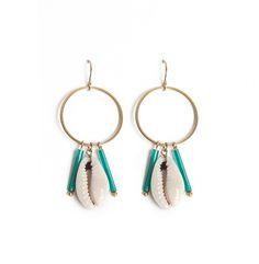 Image of Boucles D'OREILLE CORI et perles de verre turquoise