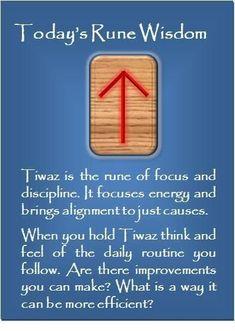 Today's Rune Wisdom: Tiwaz (Tyr) of Rune Symbols And Meanings, Elder Futhark Rune Meanings, Runes Meaning, Elder Futhark Runes, Wicca Runes, Norse Runes, Viking Symbols, Viking Runes, Rune Divination