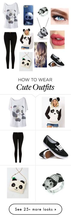 """Panda outfit"" by kyky204 on Polyvore featuring Current/Elliott, Kevin Jewelers, Bling Jewelry, Betsey Johnson, Vans, Maybelline, Charlotte Tilbury, women's clothing, women's fashion and women"