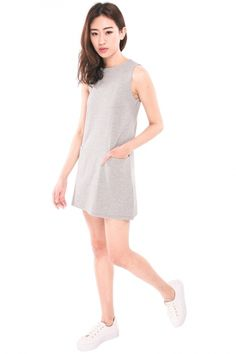 Tanna Pocket Shift Dress - Light Grey   RUNWAY BANDITS