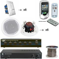 Pyle Audio System Package for Home, Studio, Bar, Concert, Stage, etc. with Charge Dock Station, Stereo Amp, Speaker Selector, Volume Knob and Speakers - PIWIPDK2 iPod/iPhone In-Wall Mounted Audio Docking Center W/Wireless Remote Control - PAMP1000 160 Watt Home Stereo Power Amplifier - PSS6 6 Channel High Power Stereo Speaker Selector - x6 PDIC61RD 6 Pairs of the 6.5'' Two-Wa.... $556.99. Pyle Audio System for Home, Studio, Bar, Concert, etc. With the charging dock st...
