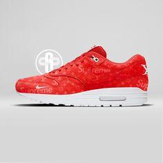 Louis Vuitton x Supreme x Nike Air Max 1 Pure Red
