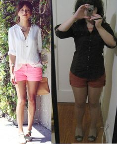 Outfit Restyle: Button Down and Shorts . Petite Hourglass on a Budget. http://idpinit.wordpress.com