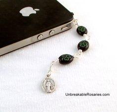 Irish Shamrock Cell Phone Charm Hail Mary Chaplet Come Visit UnbreakableRosaries.com