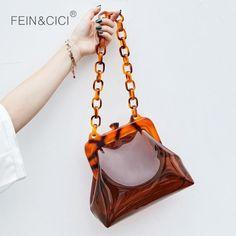 PBJ Bucket Bag Acrylic Chains Vintage Party Clutch Women Summer Shoulder  Handbag  fashion  clothing f87cf560b0dce