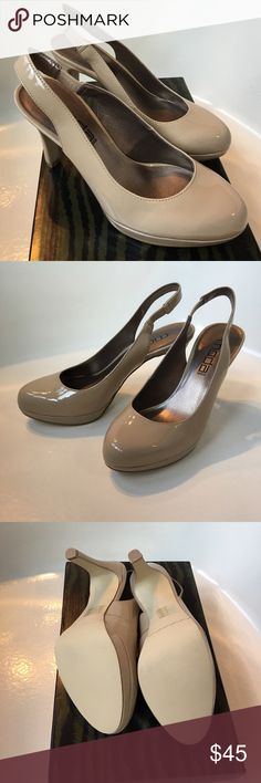 """Beige/Taupe Platform Slingback Shoes New never worn! Super cute stylish platform Slingback shoes by Moda.  Size 6 1/2M  Heel height 4"""" platform 1/2"""" Purchased before foot surgery and now don't fit! 😢 Fast Shipper📦  Bundle discount 15% off 2 Moda Shoes"""