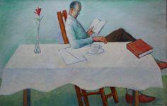 """Warren Dennis """"Man Reading at Table"""""""