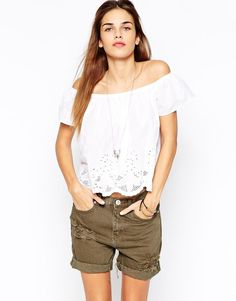 Glamorous   Glamorous Off Shoulder Broiderie Swing Top at ASOS