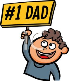 iCLIPART - Boy Holding a Number One Dad Sign Cartoon