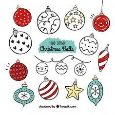 Set of vintage christmas ball drawings Free Vector Christmas Doodles, Christmas Drawing, Christmas Cards To Make, Christmas Love, Christmas Crafts, Xmas Drawing, Vintage Christmas Balls, Ornament Drawing, Ball Drawing