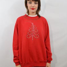 Ugly Christmas Sweater  Jumper Jewel Puff Paint 90s Tacky Sweatshirt Large Vintage Womens Clothing Holiday Xmas 1990s Red Tree Star