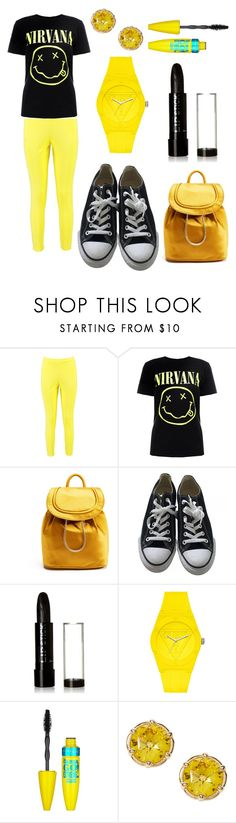 """Yellow Nirvana"" by homeschool2 ❤ liked on Polyvore featuring Boohoo, Nasty Gal, Diane Von Furstenberg, Converse, GUESS and Maybelline"