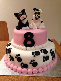 Cat & dog / puppy & kitten cake. Chocolate Cake with choc park fudge frosting