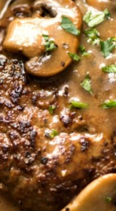 A juicy Salisbury Steak recipe with Mushroom Gravy Salisbury Steak Sauce. Easy to make with a restaurant trick for an extra tasty gravy! Salisbury Steak With Mushroom Gravy Recipe, Hamburger Steak And Gravy, Salisbury Steak Recipes, Southern Salisbury Steak Recipe, Hamburger Steak Recipes, Saulsberry Steak Recipes, Chef Recipes, Ground Beef Recipes, Cooking Recipes