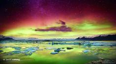 Aurora Borealis and the Milky Way over Jökulsárlón Glacier Lagoon, South Coast, Iceland, by Jarrod Castaing.