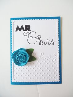 Handmade wedding card for Mr. & Mrs. Modern wedding, teal blue and white, paper lace and teal paper rose flower. Your chose of inside verse. by JustforUnotes on Etsy
