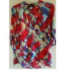 Fury colorful Blouse/Tunic V Neck with Vivid bright colors. Great for the summer. Fury Tops Blouses