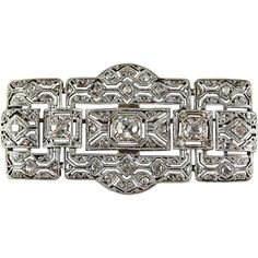 Outstanding Art Deco Platinum and Silver, diamond filigree brooch, French hallmarked pin