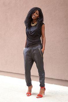 Draped T-Shirt + Leather Track Pants
