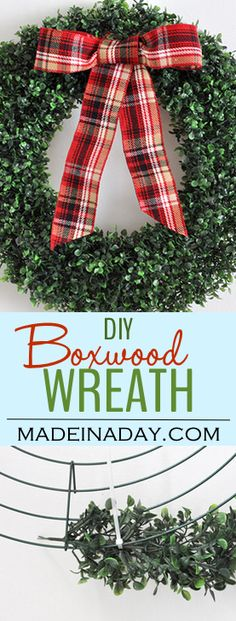 Trendy Holiday Decor: Boxwood Wreath and Lantern Styling, boxwood wreath from a garland, add snow to lantern for a sweet Christmas display via @madeinaday