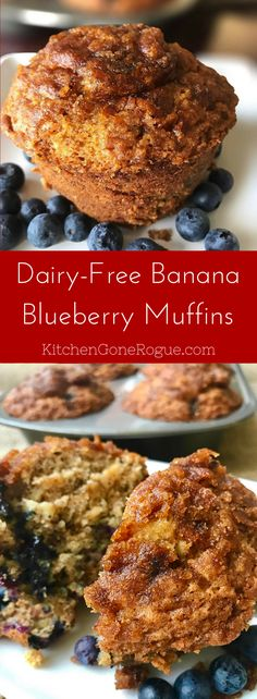 Dairy-Free Banana Blueberry Muffins Kitchen Gone Rogue