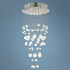 "Chrome and Glass Spheres 39 1/4"" High Halogen Ceiling Light"