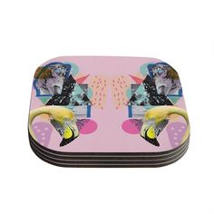 Kess InHouse Vasare Nar 'Flamingo Tropical' Coasters