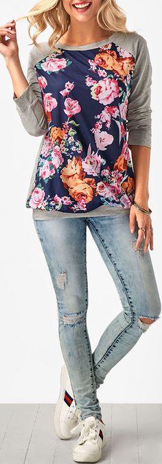 Round Neck Flower Print Long Sleeve Grey T Shirt.