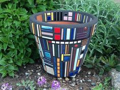 Mosaic Flower Pot Frank Lloyd Wright Inspired by MosaicsByJoan