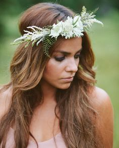Floral Boho Style Headpiece with Soft Flowers of Astilbe, Lavender, Scabiosa and Sea Star Fern, Creating a Truly Feminine Flower Style.