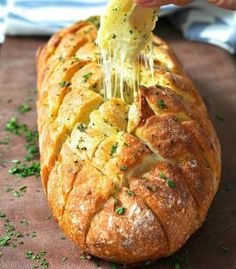 Ingredients  1 crusty loaf, preferably sourdough or Vienna   ¾ cup shredded Mozzarella cheese (or other melting cheese)