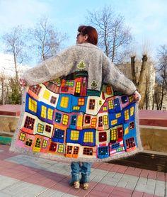 """Купить Пальто """"ПУШИСТЫЙ ХУНДЕРТВАССЕР"""" мохер, ручная работа - рисунок, Анна Лесникова, хундертвассер Knit Cardigan, Knit Crochet, Knitting, Nice, Fashion, Scrappy Quilts, Knits, Hipster Stuff, Decorations"""