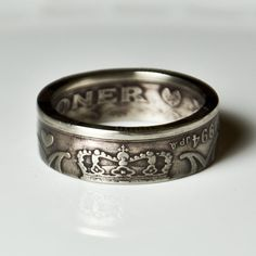 Coin Ring  Denmark  2 Kroner   Size 8 by TheRingTree on Etsy, $44.50