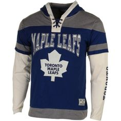 Old Time Hockey Toronto Maple Leafs Youth Prospect Lace Fooler Pullover Hoodie - Navy Blue