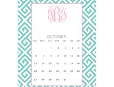 Greek Key Printable Monogram Calendar | Printable Monogram