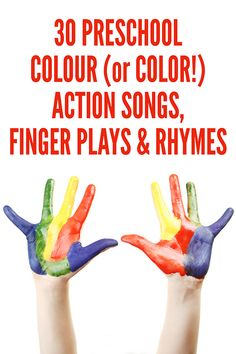 30 Preschool Color Action Songs, Finger Plays & Rhymes - Everything About Kindergarten Color Songs For Toddlers, Color Song For Kids, Rhymes For Toddlers, Rhyming Preschool, Preschool Color Activities, Action Songs For Preschoolers, Preschool Ideas, Action Songs For Kids, Kindergarten Colors