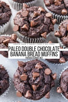 Paleo Double Chocolate Banana Bread Muffins - grain-free, dairy-free, oil-free, moist, fluffy delicious chocolatey muffins that happen to be healthy #paleo #grainfree #chocolate #glutenfree #oilfree #dairyfree Double Chocolate Chip Muffins, Chocolate Banana Bread, Dark Chocolate Chips, Paleo Banana Bread, Banana Bread Muffins, Banana Bread Recipes, Good Healthy Recipes, Whole Food Recipes, Low Carb Recipes