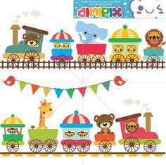 Kawaii Zoo train - Animal Parade  Digital Clipart / by DimiPix http://etsy.me/1rloNg3 vía @Etsy