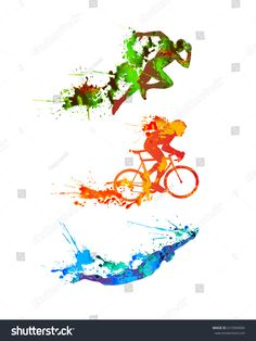Splash paint silhouettes – Pin's Page Ironman Triathlon Motivation, Ironman Triathlon Tattoo, Triathlon Humor, Triathlon Women, Triathlon Wetsuit, Sport Nature, Sports Graphic Design, Bike Photography, Triathlon Clothing