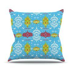 "Miranda Mol ""Deco Row Blue"" Yellow Red Throw Pillow"