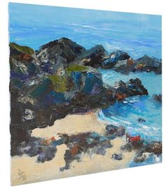 Rocky Coast Cornwall, Red Boat, Oil painting by Brian Hanson | Artfinder
