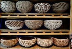 Awsome bowls by Thierry Luang Rath Ceramic Bowls, Ceramic Pottery, Clay Bowl, Carving Designs, Sgraffito, Ceramic Artists, Decoration, Decorative Bowls, Diy And Crafts